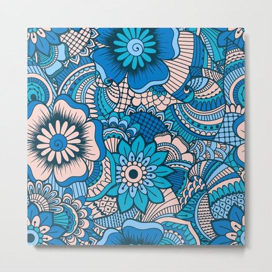 Blue Summer Boho Floral Pattern Metal Print