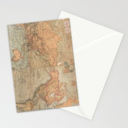 Vintage Map of The World (1870) Stationery Cards
