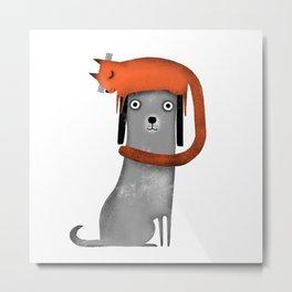 CAT LANDING Metal Print