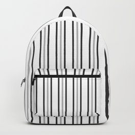 Dark Grey And Silver Three Stripes Pattern on White | Vertical Stripes | Backpack