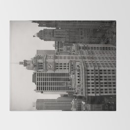 Wrigley Building Chicago Black and White Photo Throw Blanket