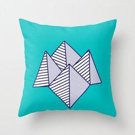 Paku Paku, navy lines on turquoise Throw Pillow