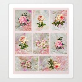 Rose Patchwork Art Print