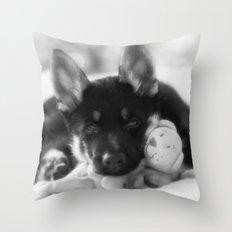 Black white portrait of a shepherd puppy. Throw Pillow
