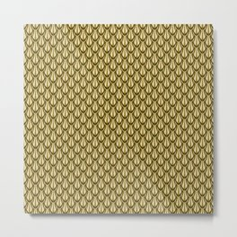Gleaming Gold Leaf Scalloped Scale Pattern Metal Print