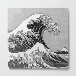 The Great Wave of Kanagawa Black and White Metal Print