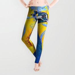 BLUE PEACOCK & BUTTERFLIES ABSTRACT Leggings