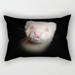 Albino Ferret black background Rectangular Pillow
