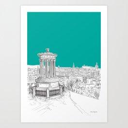 Overlooking Edinburgh (teal version) Art Print
