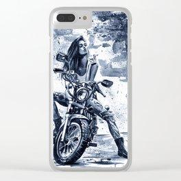 Biker Girl Clear iPhone Case