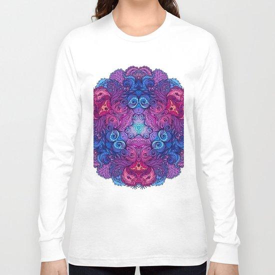 Purple & Blue Indian Mandala Long Sleeve T-shirt