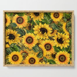 Vintage & Shabby Chic - Noon Sunflowers Garden Serving Tray
