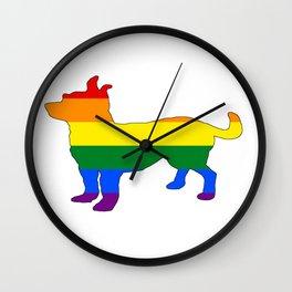 Rainbow Chihuahua Wall Clock