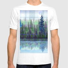 Nature Reflected Plaid Pine Forest MEDIUM Mens Fitted Tee White