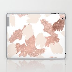 Modern rose gold faux glitter brushstrokes blush pink Laptop & iPad Skin