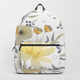 Modern, Floral Prints, Yellow, Gray and White Backpack