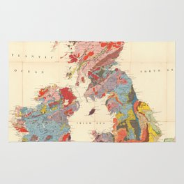 Vintage Geological Map of The British Isles (1912) Rug