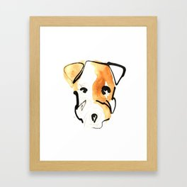 Black Ink and Watercolor Jack Russell Terrier Dog Framed Art Print