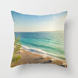 Beach in croatian coast, blue sea. Aerial view Throw Pillow