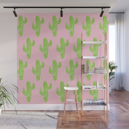 Linocut Cacti Minty Pinky Wall Mural