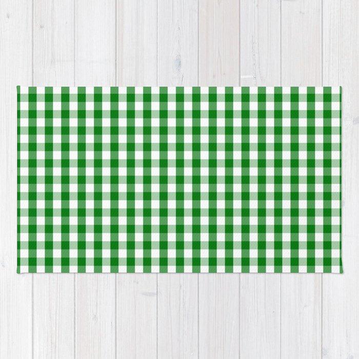 Christmas Green Gingham Check Rug