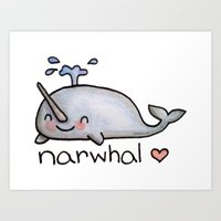 narwhal Art Prints featuring narwhal  by geeboo