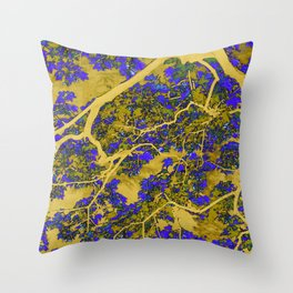 Colourful blue and yellow trees Throw Pillow
