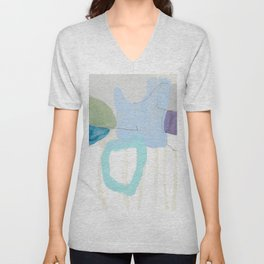 stone by stone 2 - abstract art fresh color turquoise, mint, purple, white, gray Unisex V-Neck