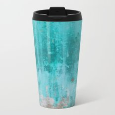 Weathered turquoise concrete wall texture Metal Travel Mug