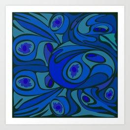 Rooster in Dark Blue/Green Art Print