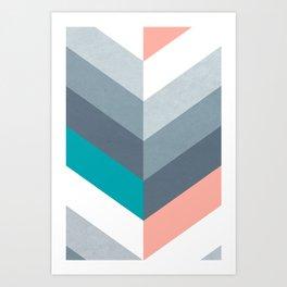 Vertical Chevron Pattern - Teal, Coral and Dusty Blues #geometry #minimalart #society6 Art Print
