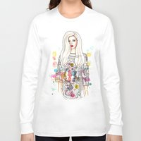 selena gomez Long Sleeve T-shirts featuring selena illustration by sparklysky