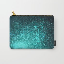 Vibrant Aqua and Black Spray Paint Splatter Carry-All Pouch