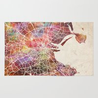 dublin Area & Throw Rugs featuring Dublin map by MapMapMaps.Watercolors