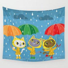 Rainy Day Kitty Cats Wall Tapestry