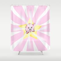 kirby Shower Curtains featuring Kirby by DROIDMONKEY