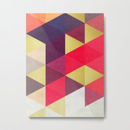 Colorful and golden geometric triangles IV Metal Print