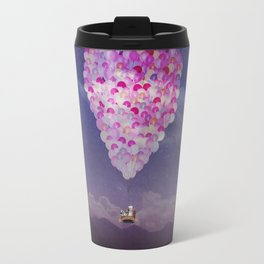 NEVER STOP EXPLORING IV PINK BALLOONS Travel Mug