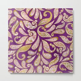 Gold and pink glitter Paisley pattern on purple Metal Print