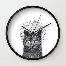 Dandelion black cat Wall Clock