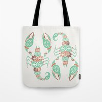 rose gold Tote Bags featuring Scorpion – Mint & Rose Gold by Cat Coquillette