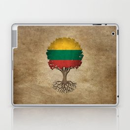Vintage Tree of Life with Flag of Lithuania Laptop & iPad Skin