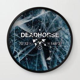 Deadhorse Alaska with World Globe Silhouette & Coordinates Wall Clock