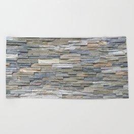 Gray Slate Stone Brick Texture Faux Wall Beach Towel