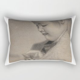 Girl Playing with Cat - in Charcoal Rectangular Pillow