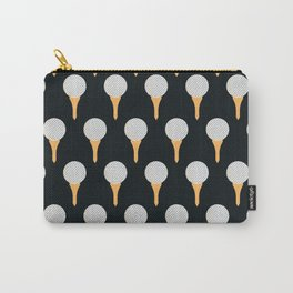 Golf Ball & Tee Pattern (Black) Carry-All Pouch