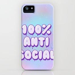 Pastel Goth 100% anti social iPhone Case
