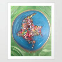 colombia Art Prints featuring Colombia Verde by MikAnsart