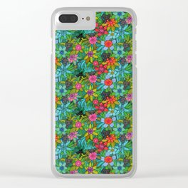 Pattern kitties and flowers Clear iPhone Case