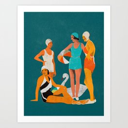 Girls day out at the beach Art Print